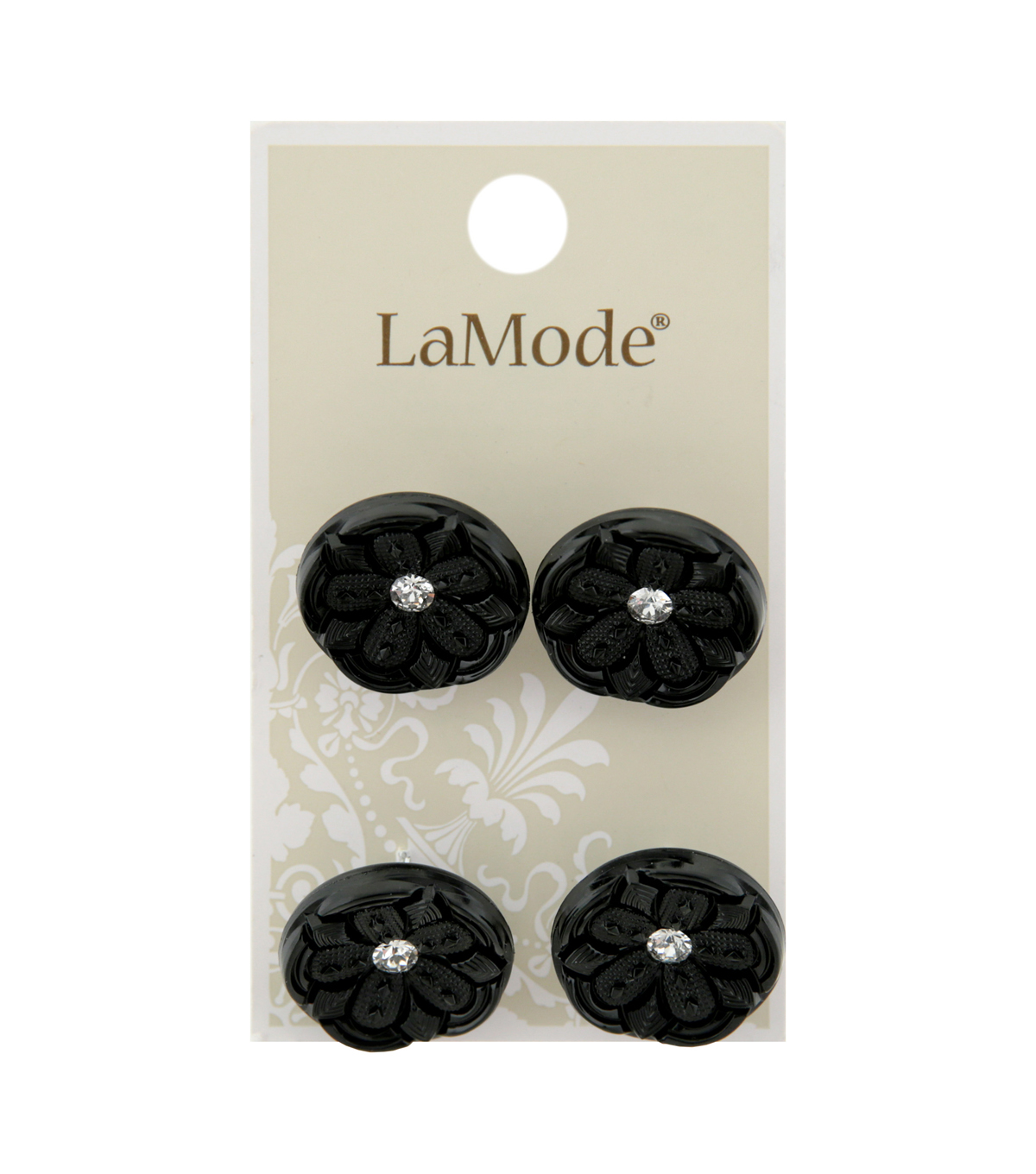 La Mode 4 pk 20 mm Black Shank Buttons with Centre Rhinestone