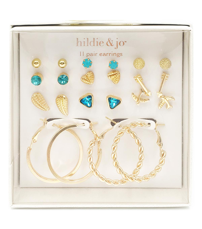 Hil Jo 11 Pair Gold Post Hoop Earrings
