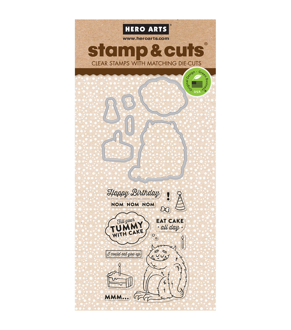 Hero Arts Stamp & Cut Clear Stamps with Dies-Eat Cake