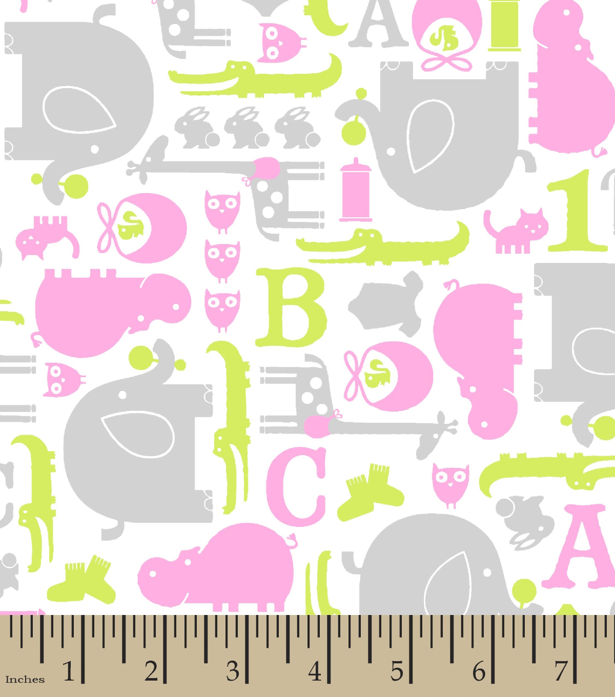 Snuggle Printed Flannel Fabric -Pink, Green & Gray Baby Animals