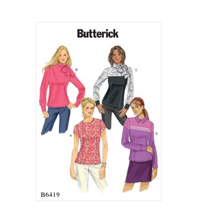 Butterick Pattern B6419 Misses\u0027 Button-Back Blouses-Size 6-8-10-12-14
