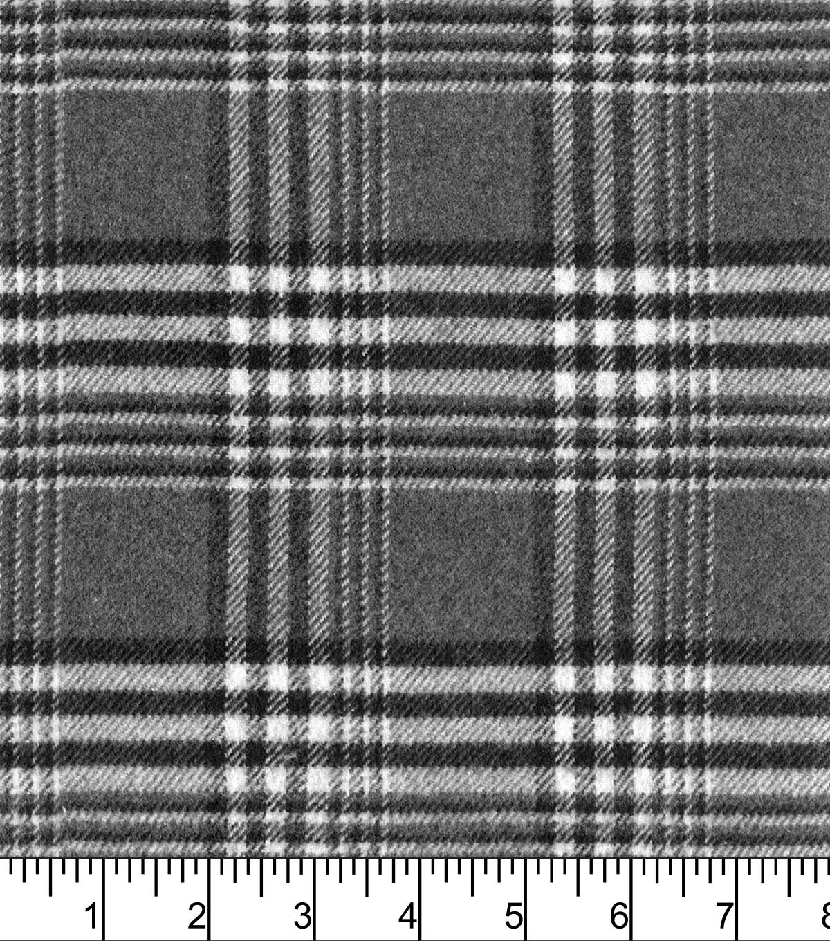 Plaiditudes Brushed Cotton Fabric -Grey White Plaid