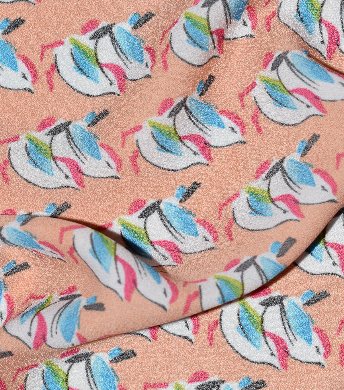 Fast Fashion Dobby Print Fabric-Coral Tossed Birds