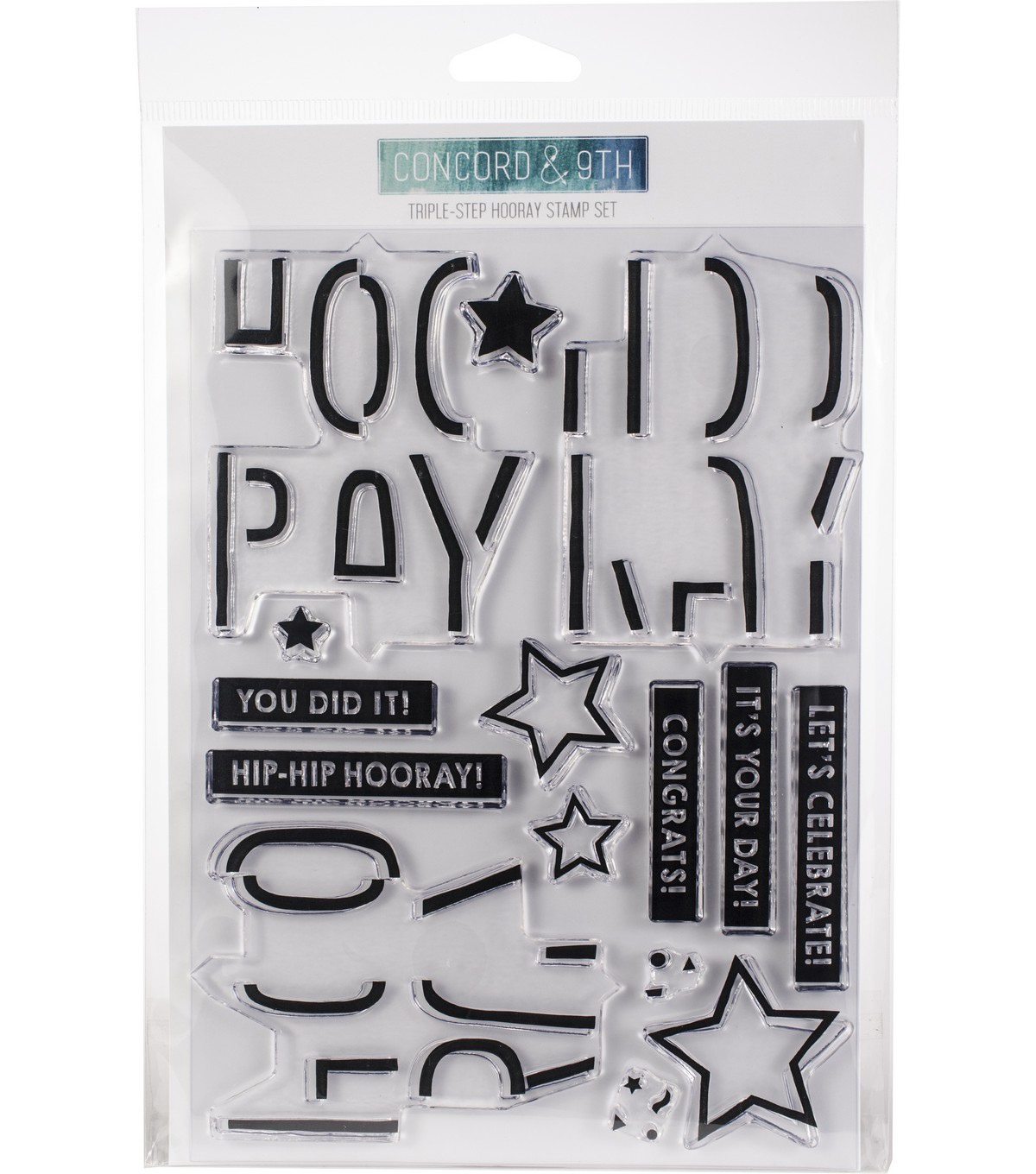 Concord & 9th 15 pk Clear Stamps-Triple-step Hooray