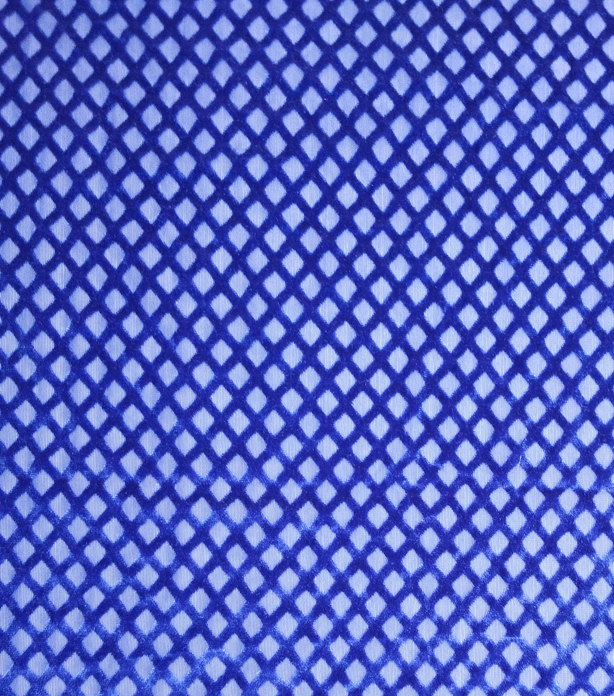 Geometric Velvet Burnout Fabric-Mazarine Blue