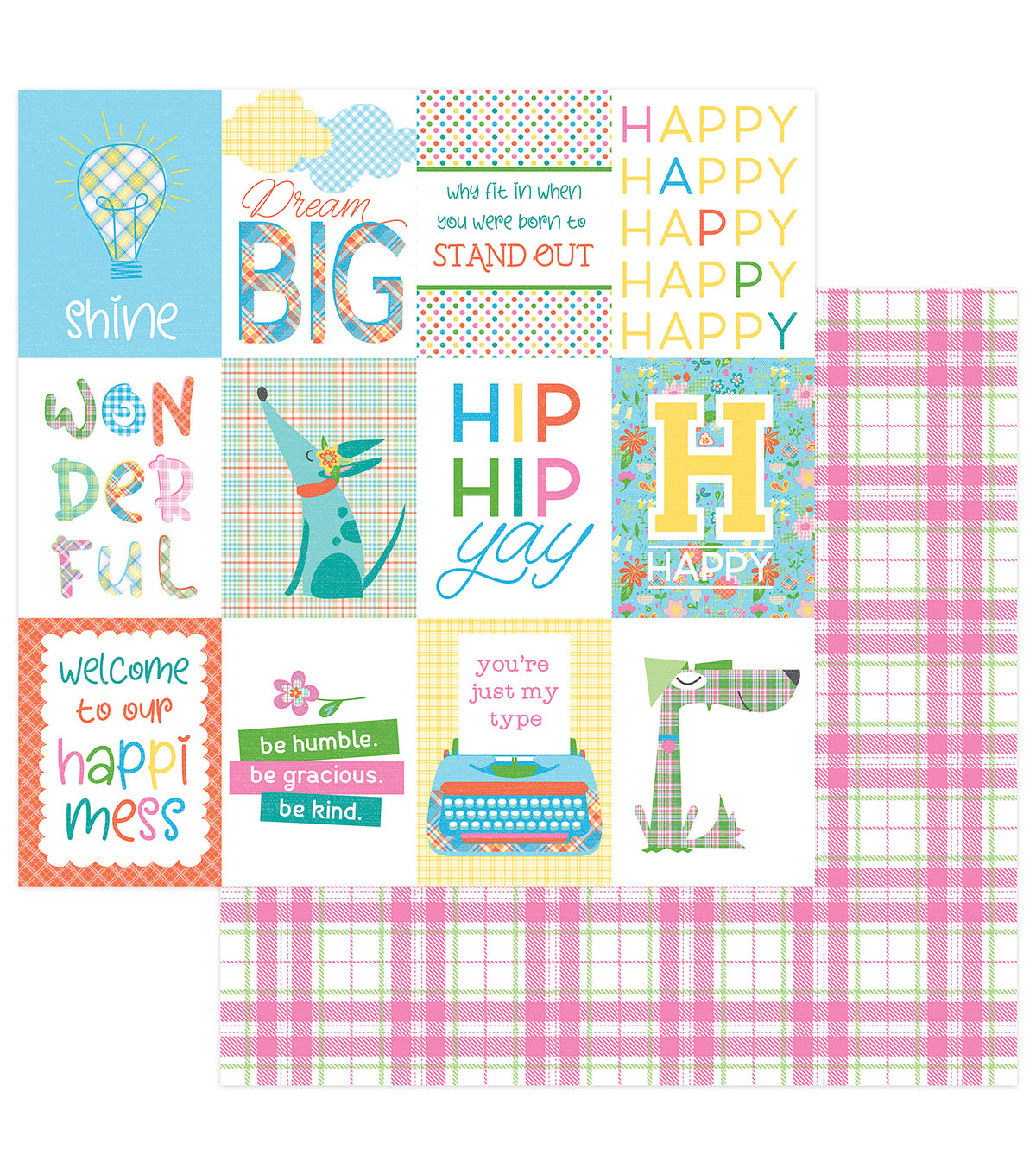 Photoplay Paper Mad 4 Plaid Happy 12\u0027\u0027x12\u0027\u0027 Cardstock-Happy Day