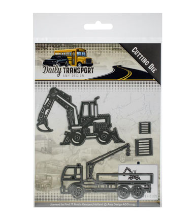Amy Design Daily Transport 4 pk Cutting Dies-Construction Vehicles