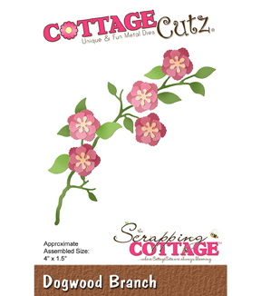 CottageCutz Die-Dogwood Branch 4\u0022X1.5\u0022