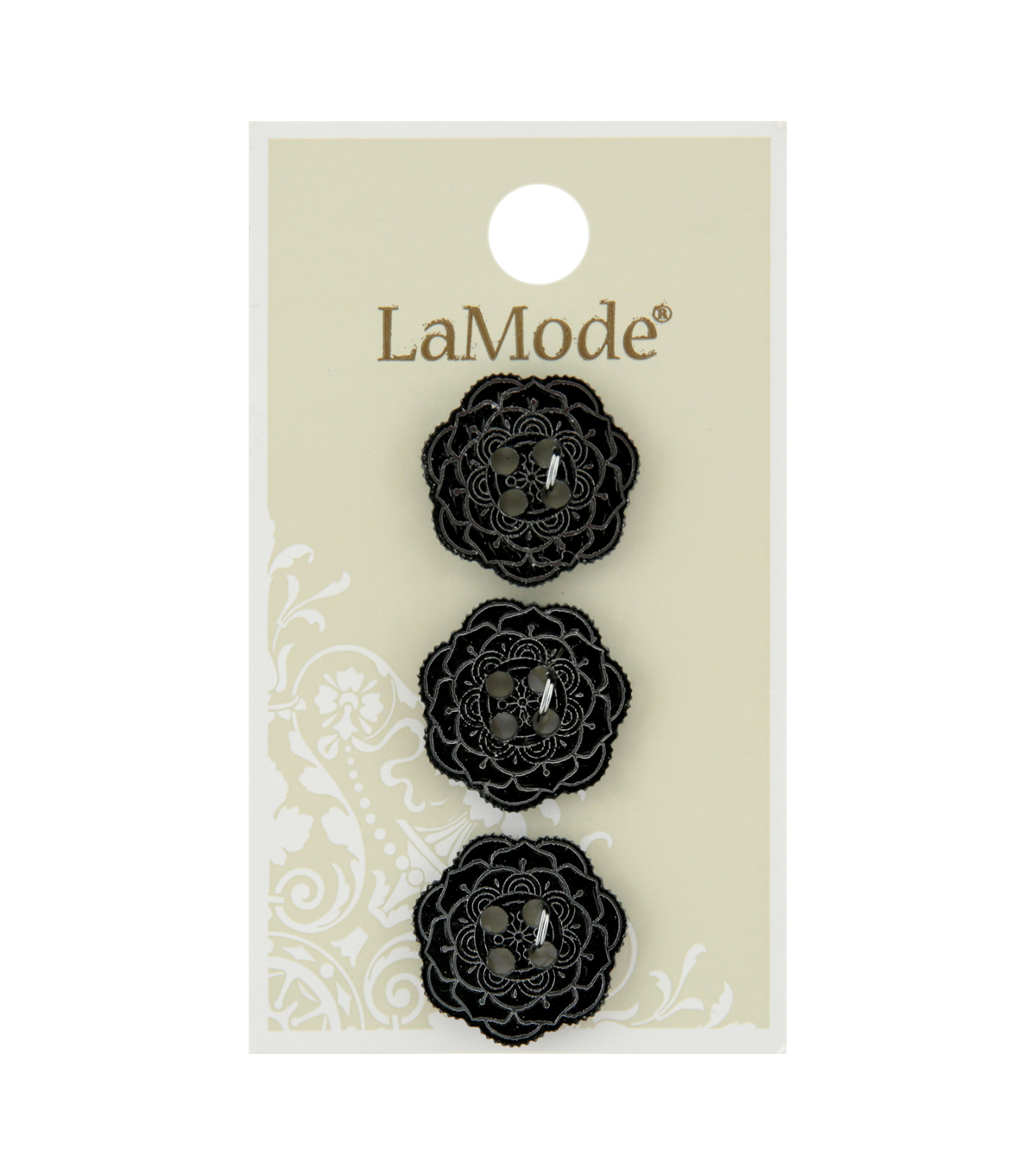 La Mode 3 pk 18 mm Mirrored Flower 4 Hole Buttons-Black