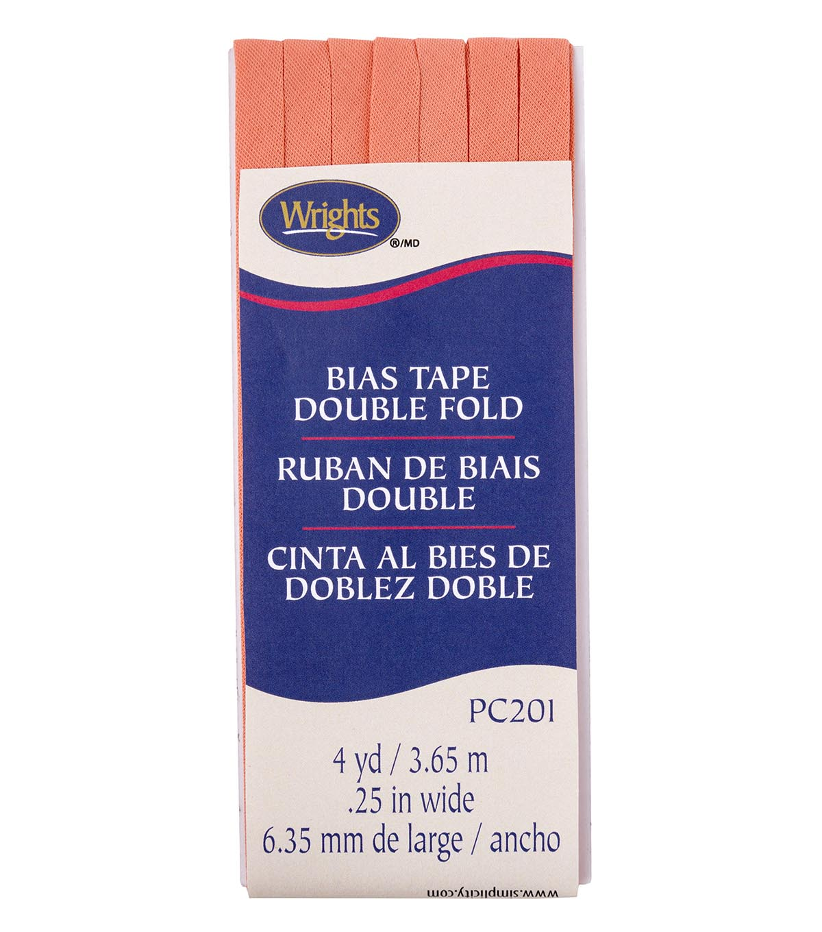 Wrights Double Fold Bias Tape 1/4\u0027\u0027x4 yds-Coral Sea