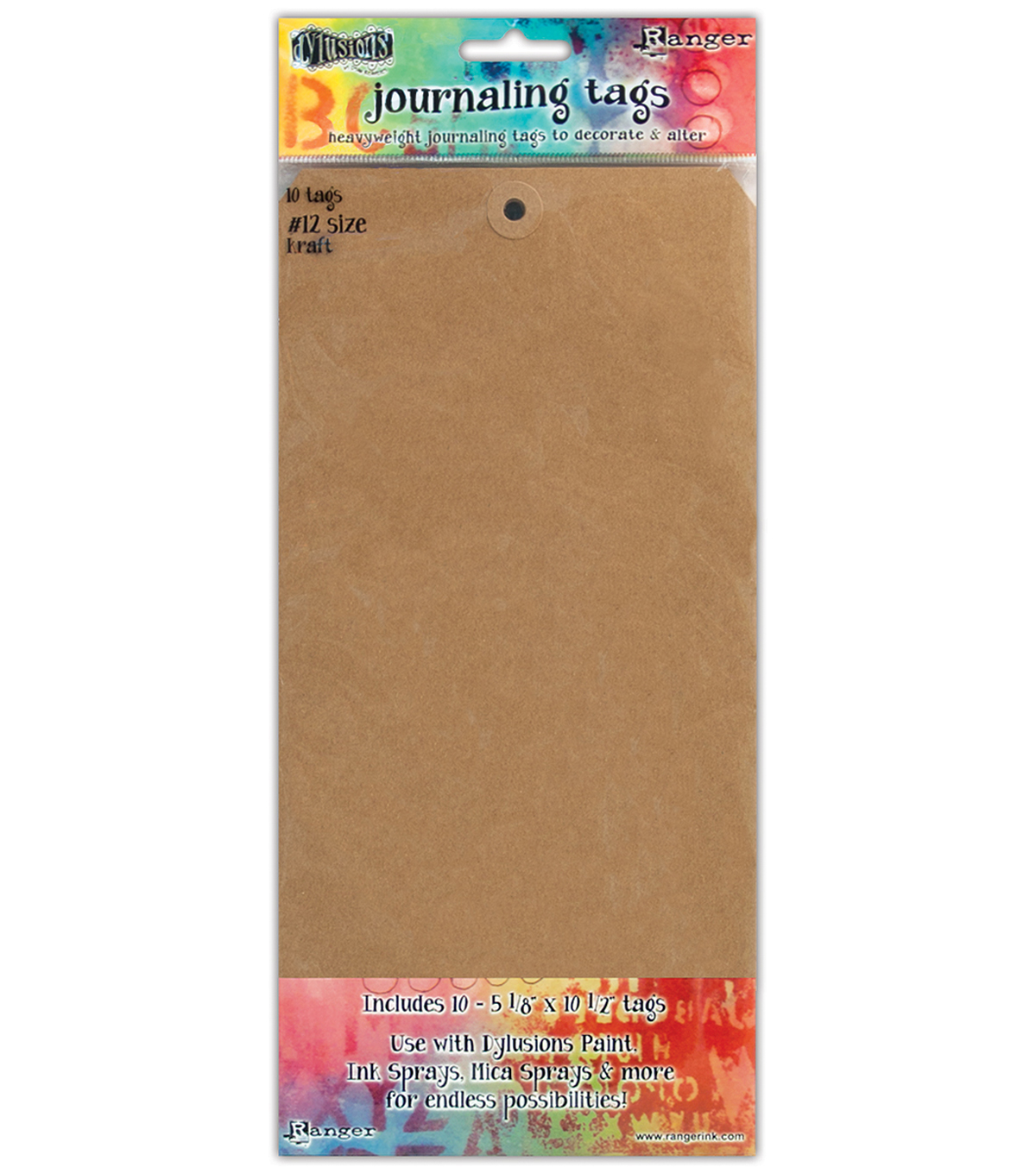 Ranger Dyan Reaveley\u0027s Dylusions 10 pk Journal Tags #12-Kraft