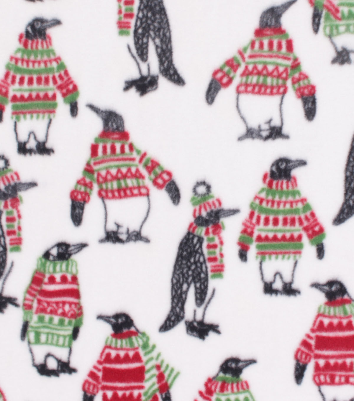 Anti-Pill Plush Fabric-Penguins in Sweaters