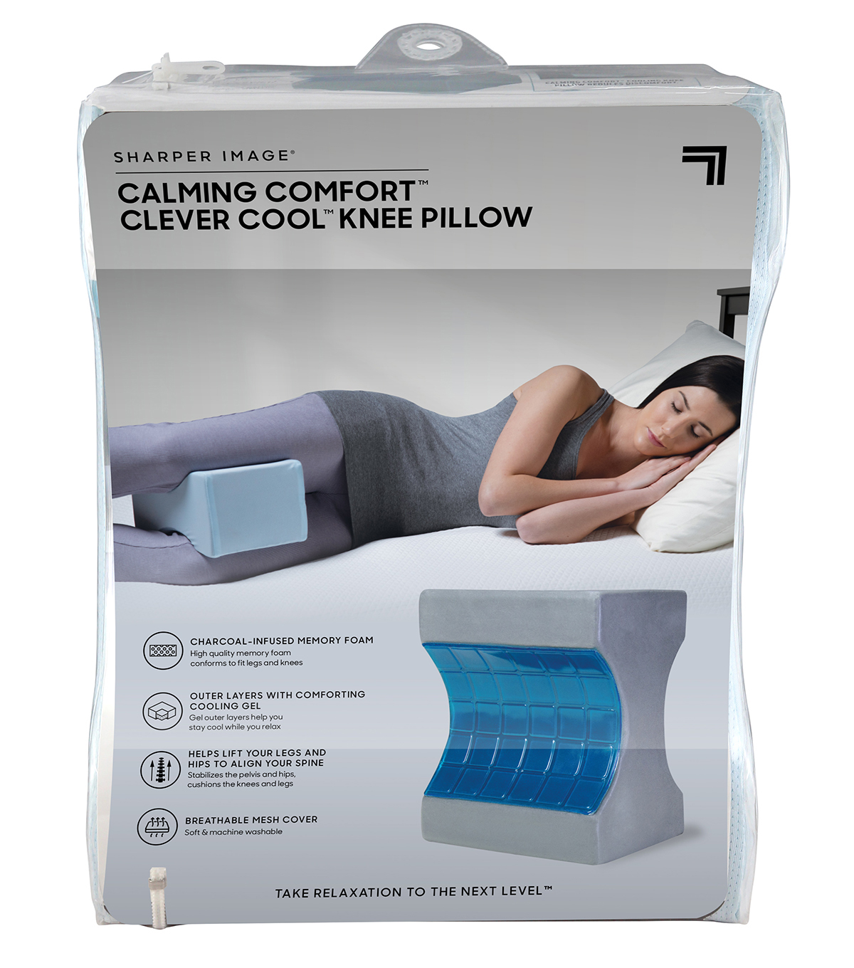 Helps Side Sleepers Align Spine Calming Comfort Cooling Knee Pillow by Sharper Image Charcoal Infused Memory Foam with Cooling Gel