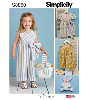 Simplicity Pattern S8850 Toddlers\u0027 Apparel & Toy-Size A (1/2-1-2-3-4)