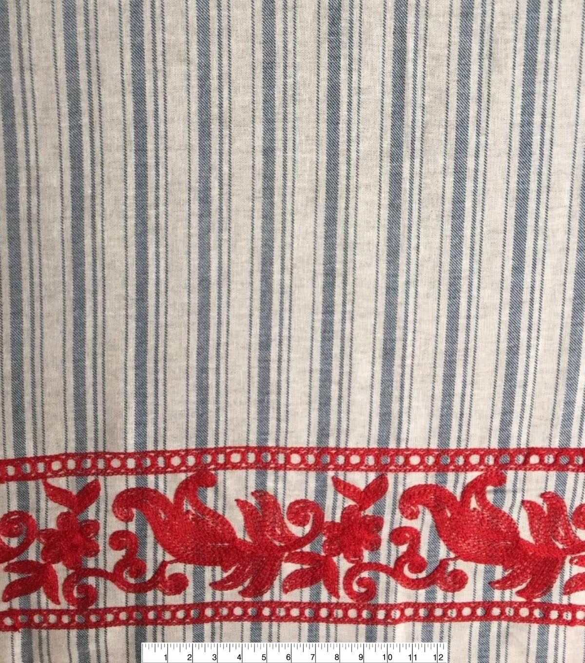 Linen Fabric 52\u0022-Blue Striped Red Embroidered Border