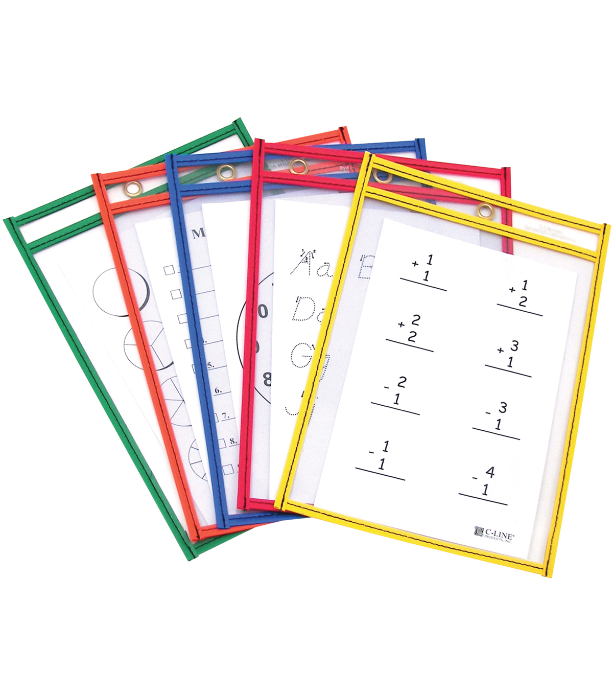 Reusable Dry Erase Pockets 6\u0022X9\u0022-Assorted Primary Colors