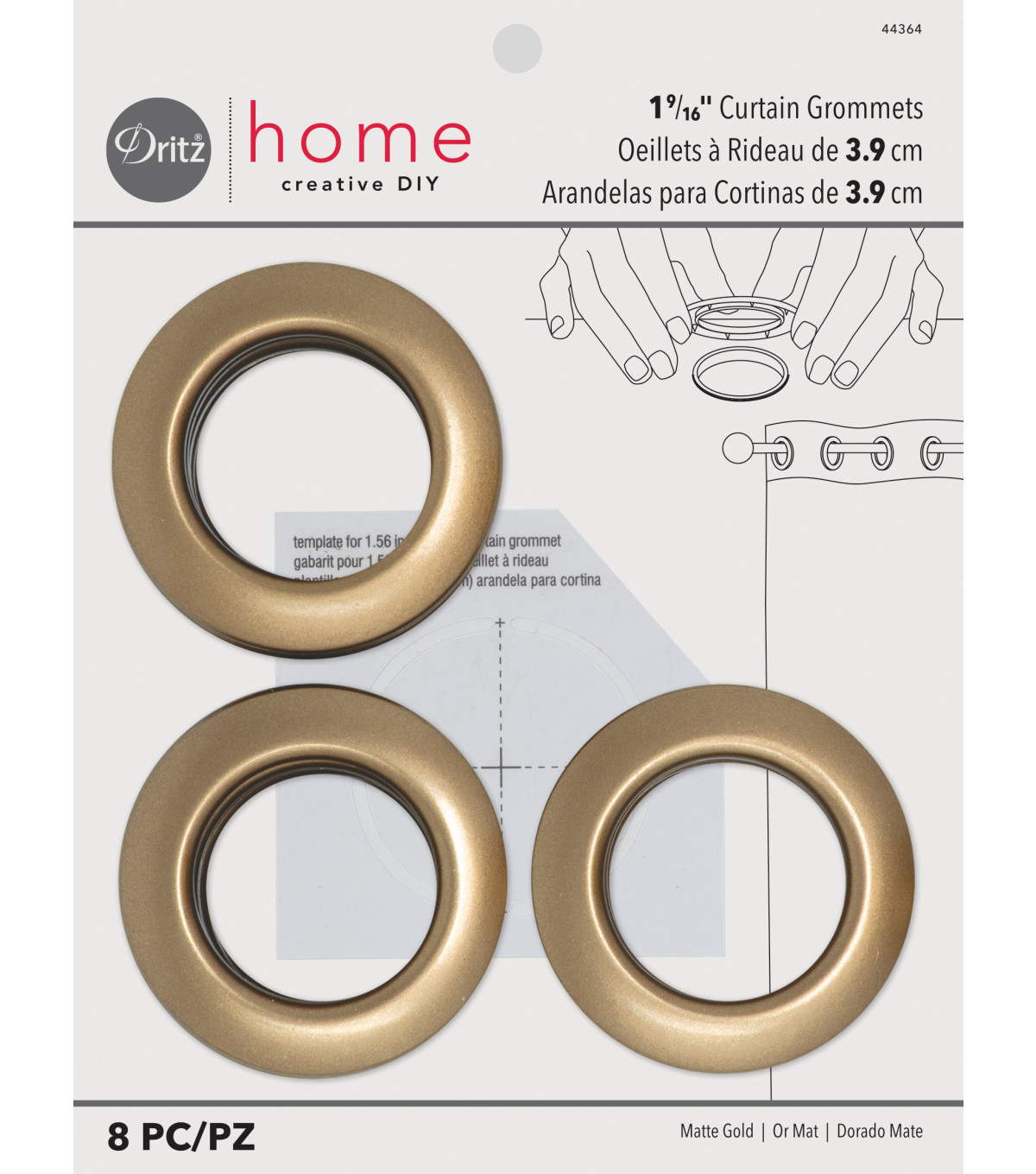 Dritz Home 1.56\u0027\u0027 Curtain Grommets 8pcs Brass, Matte Gold
