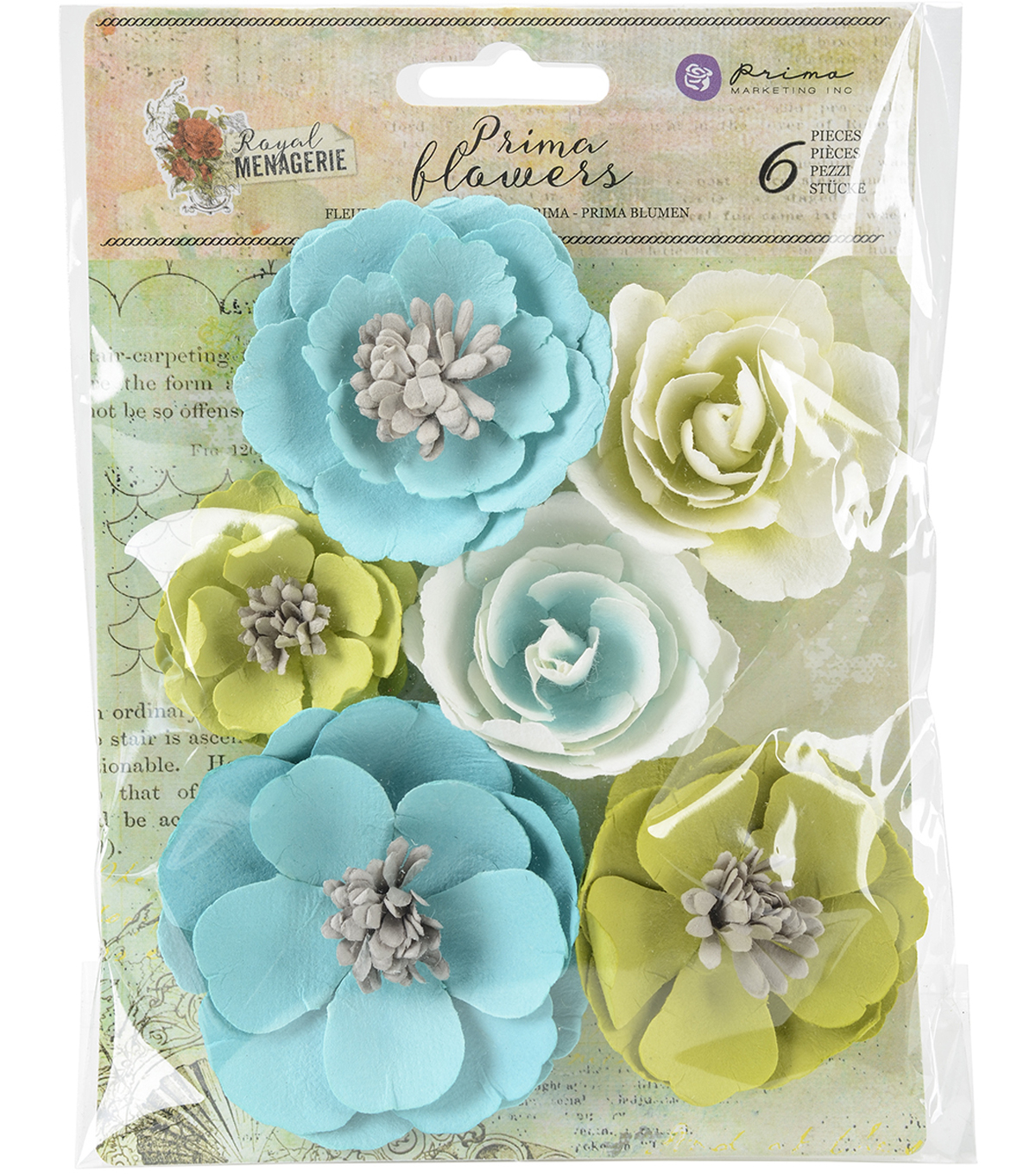 Prima Marketing Royal Menagerie 6 Pk Mulberry Paper Flowers Louise
