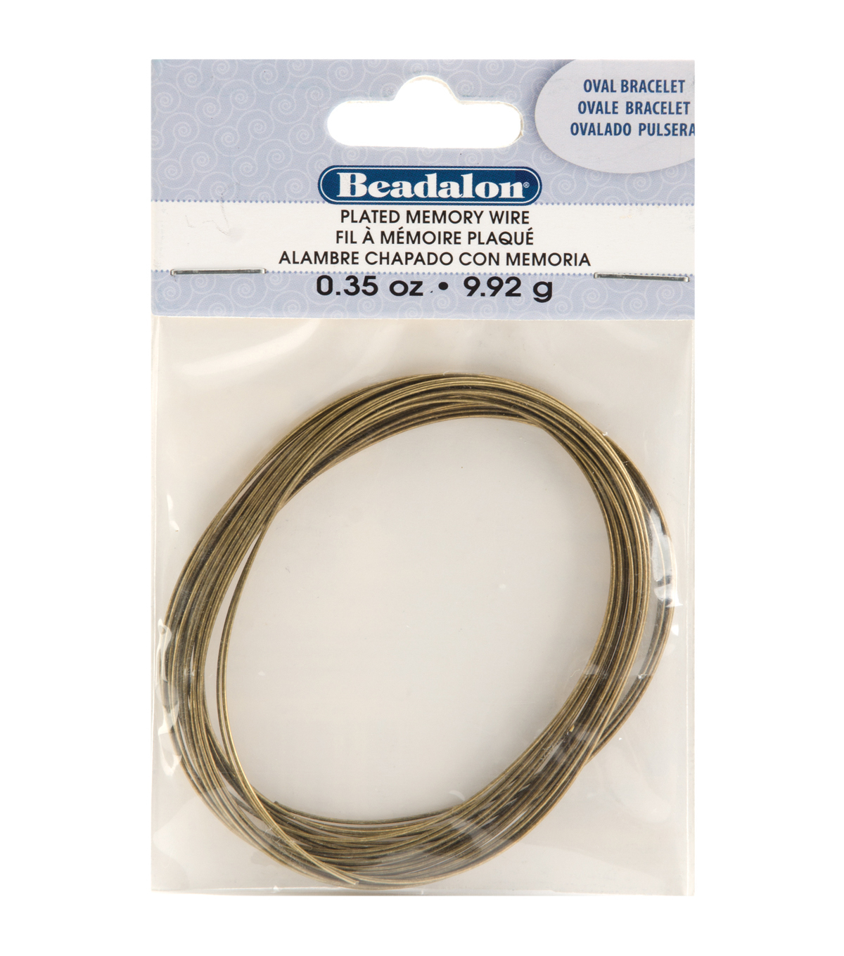 Memory Wire Oval Bracelet .35 Oz/Pkg-Antique Brass