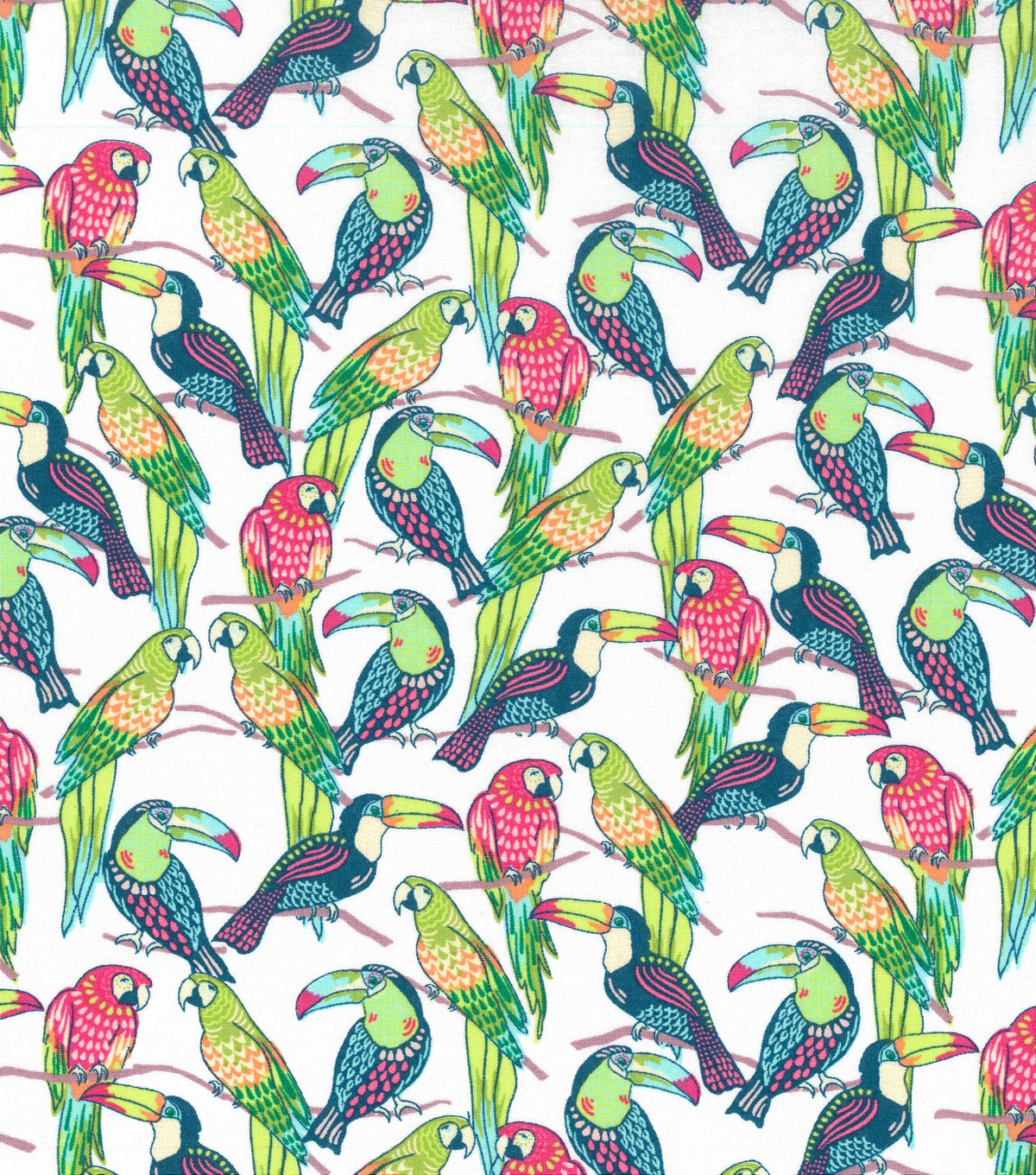 Novelty Cotton Fabric 43\u0022-Bright Tropical Birds