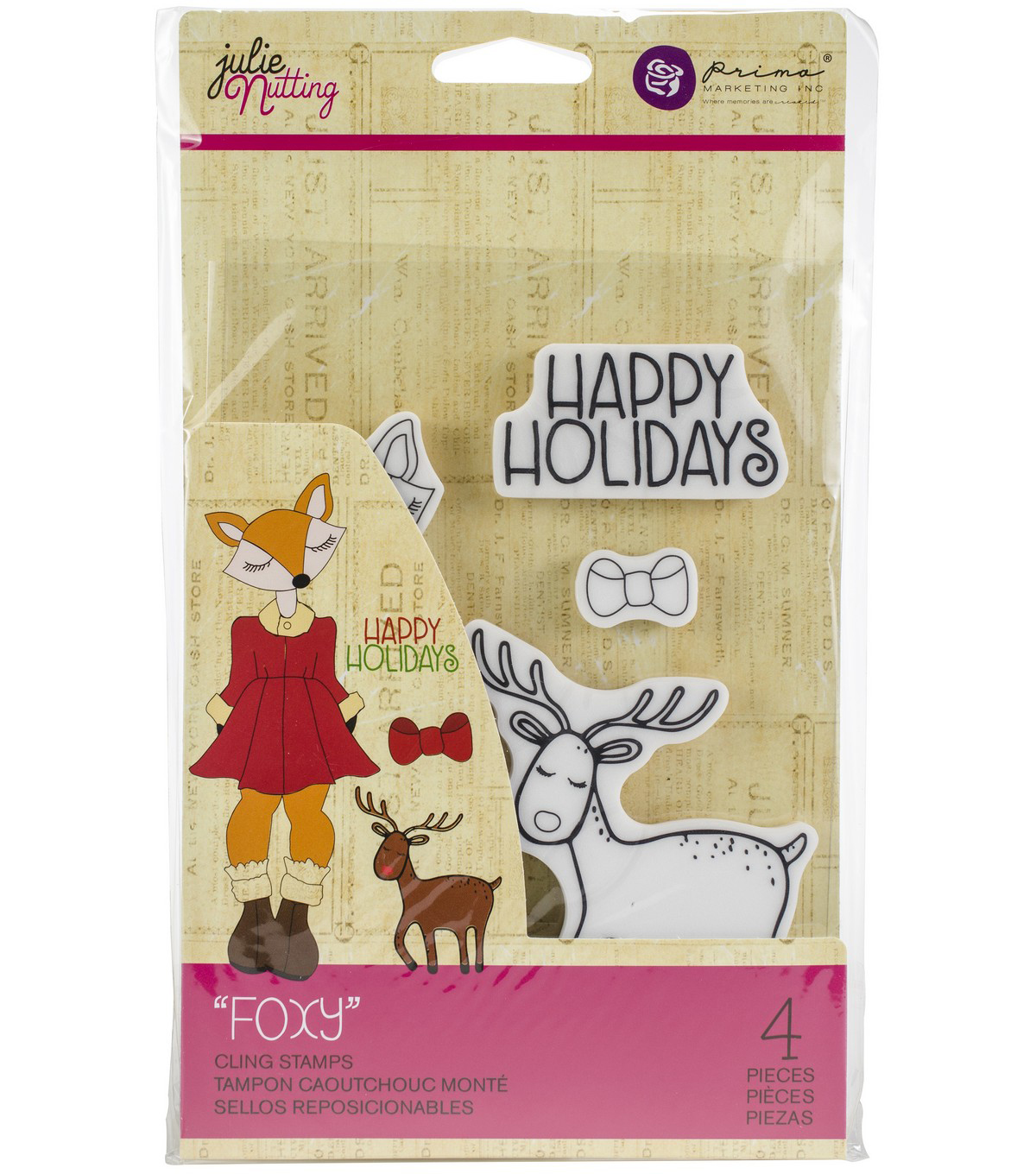 Julie Nutting Christmas 4 pk Cling Rubber Stamps-Foxy