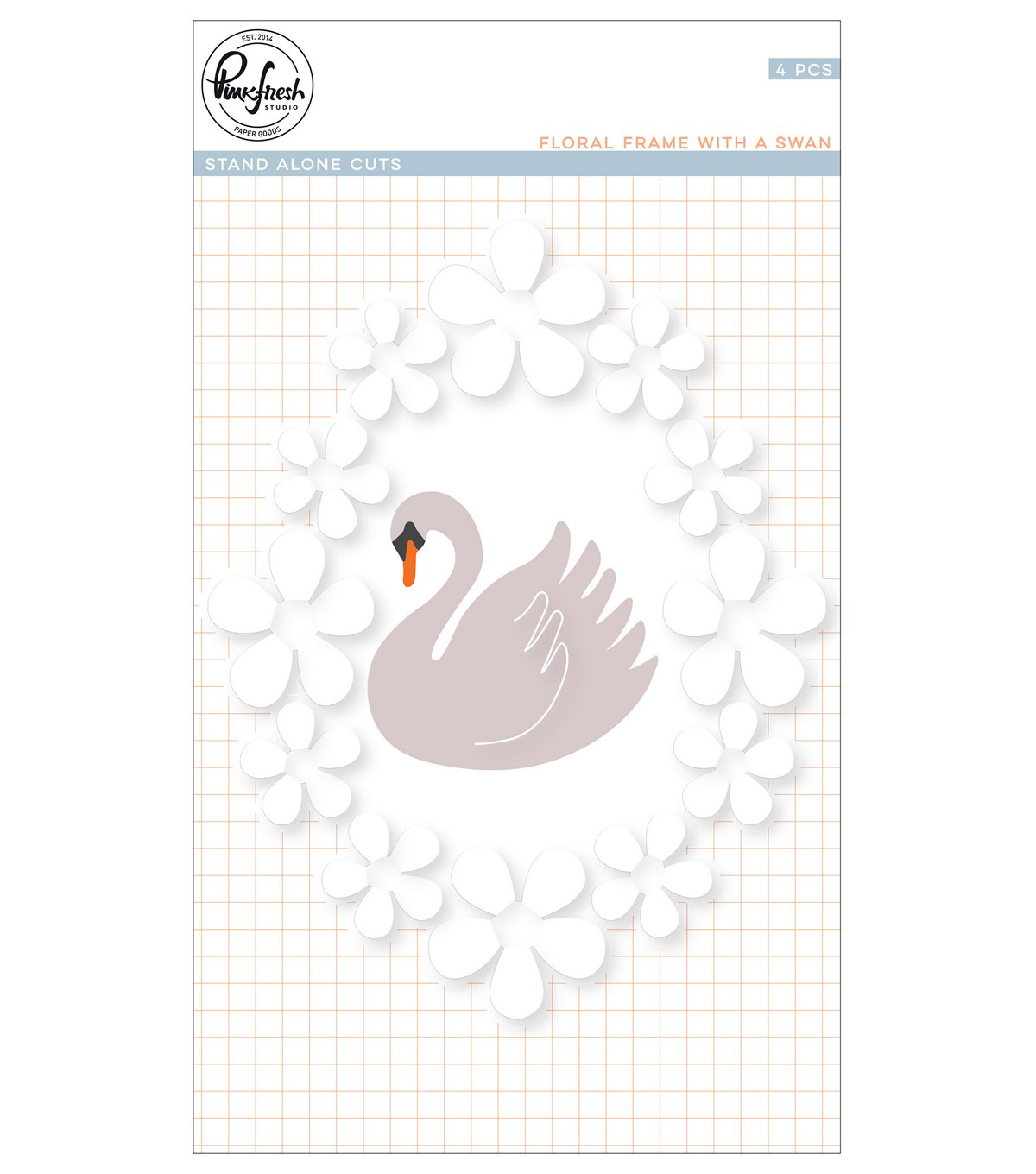 Pinkfresh Studio Die-Floral Frame With Swan