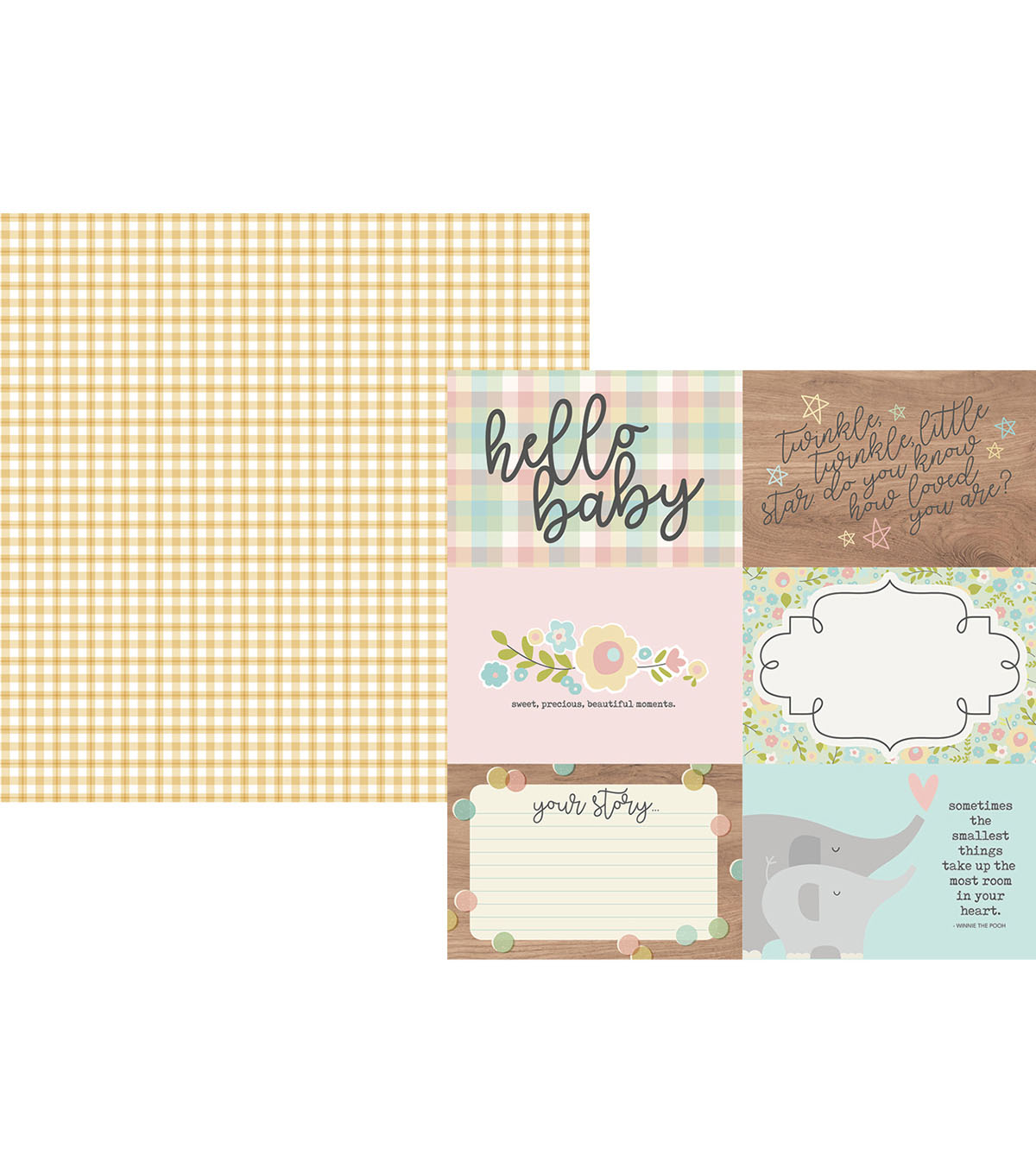 Simple Stories Oh Baby! 25 pk Double-sided Horizontal Elements Cardstock