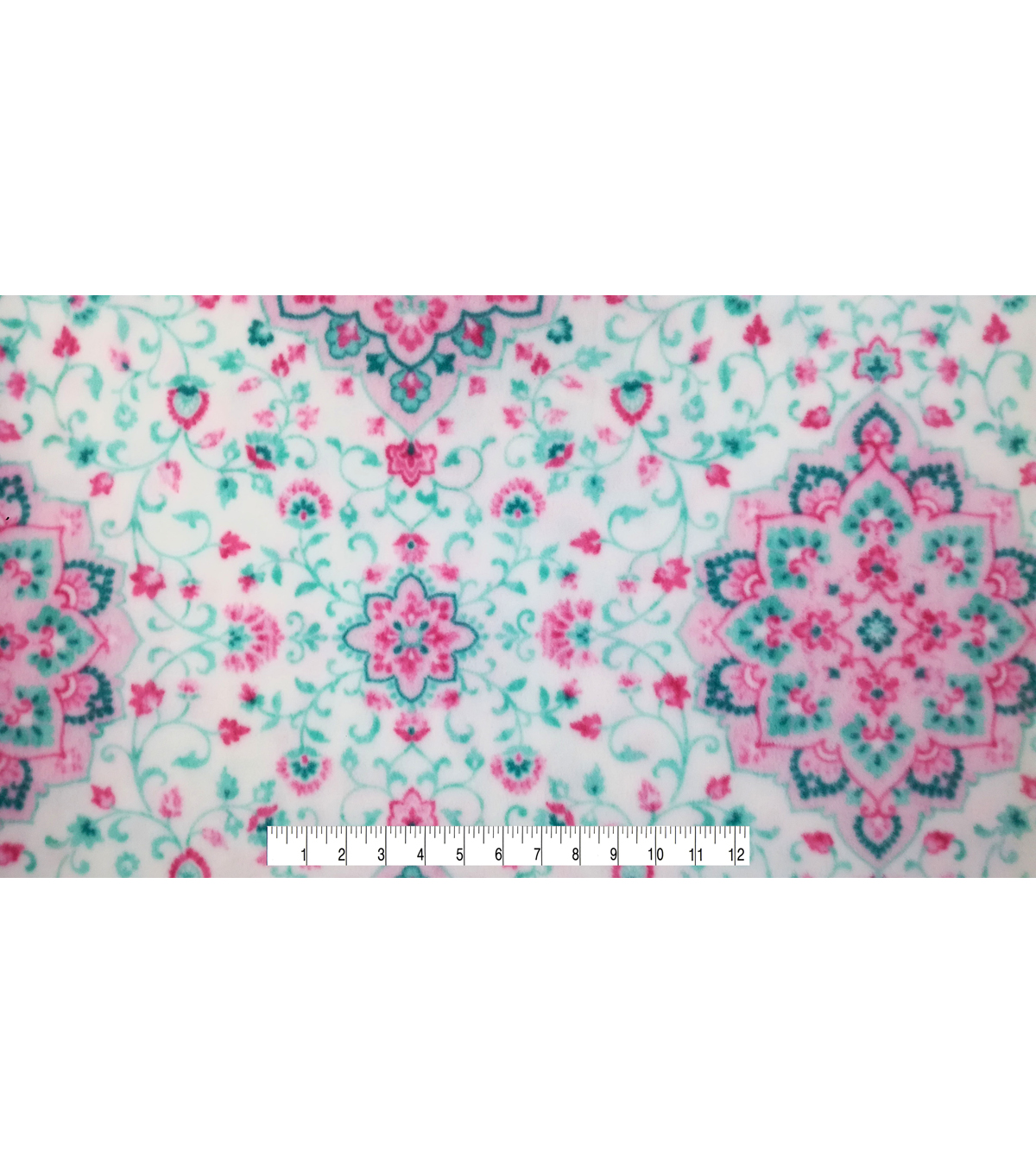 Anti-Pill Fleece Fabric -Dusty Pink Medallions