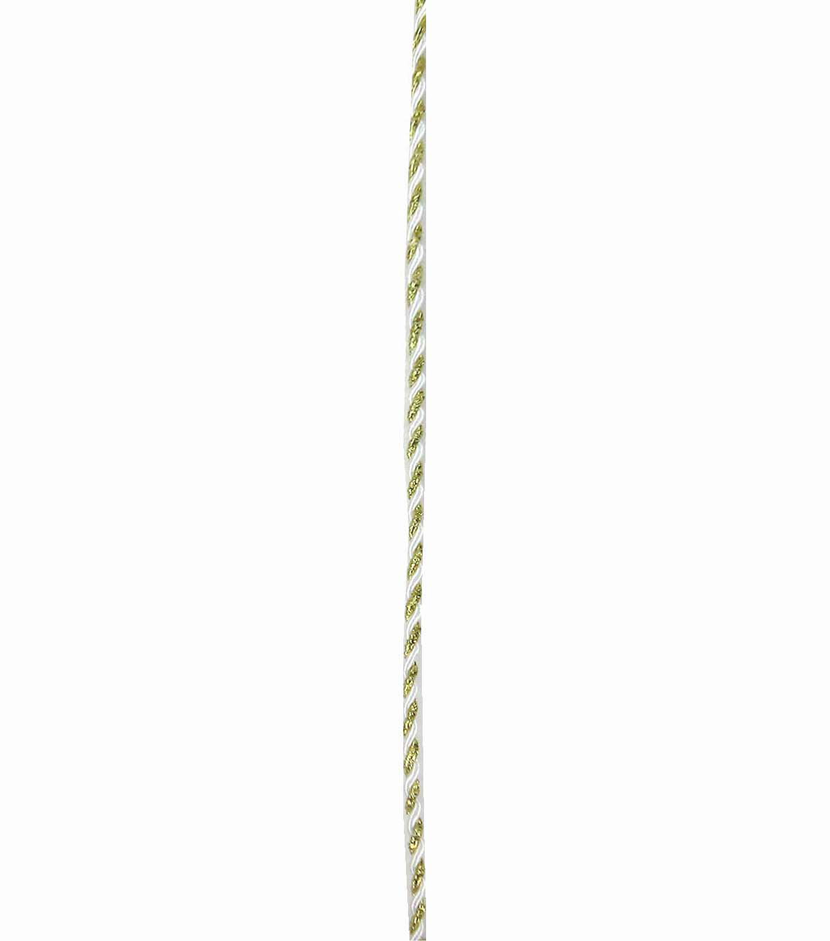 Save the Date 3mm x 15ft Cord-Gold White Twist