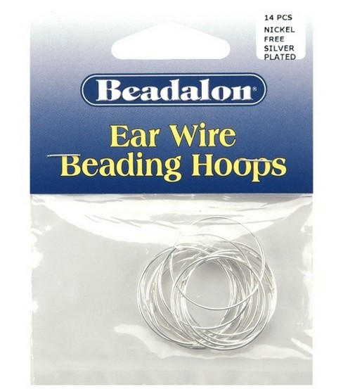 Beadalon 25mm Medium Ear Wire Beading Hoops-12PK/Silver Plated