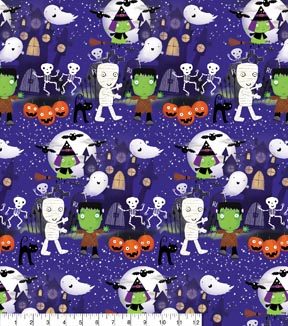 Halloween Cotton Fabric 43\u0022-Haunters And Ghouls