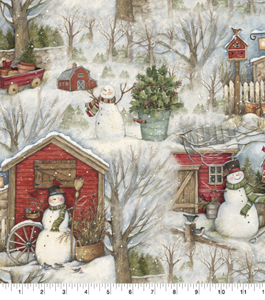 Christmas Cotton Fabric-Holiday Barn