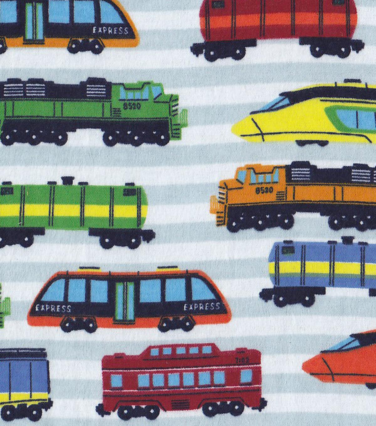 Snuggle Flannel Fabric -High Speed Trains