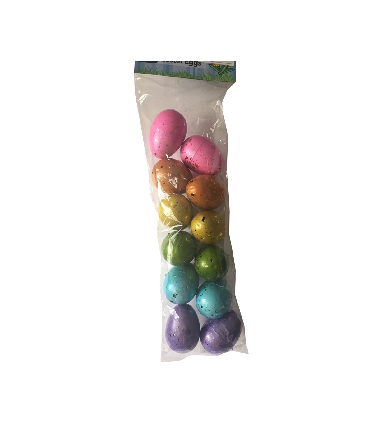Easter Decor 12 pk Easter Eggs-Multicolor with Gold Sprayed