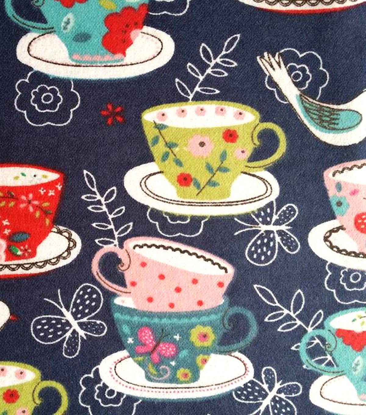 Snuggle Flannel Fabric -Tea Cups