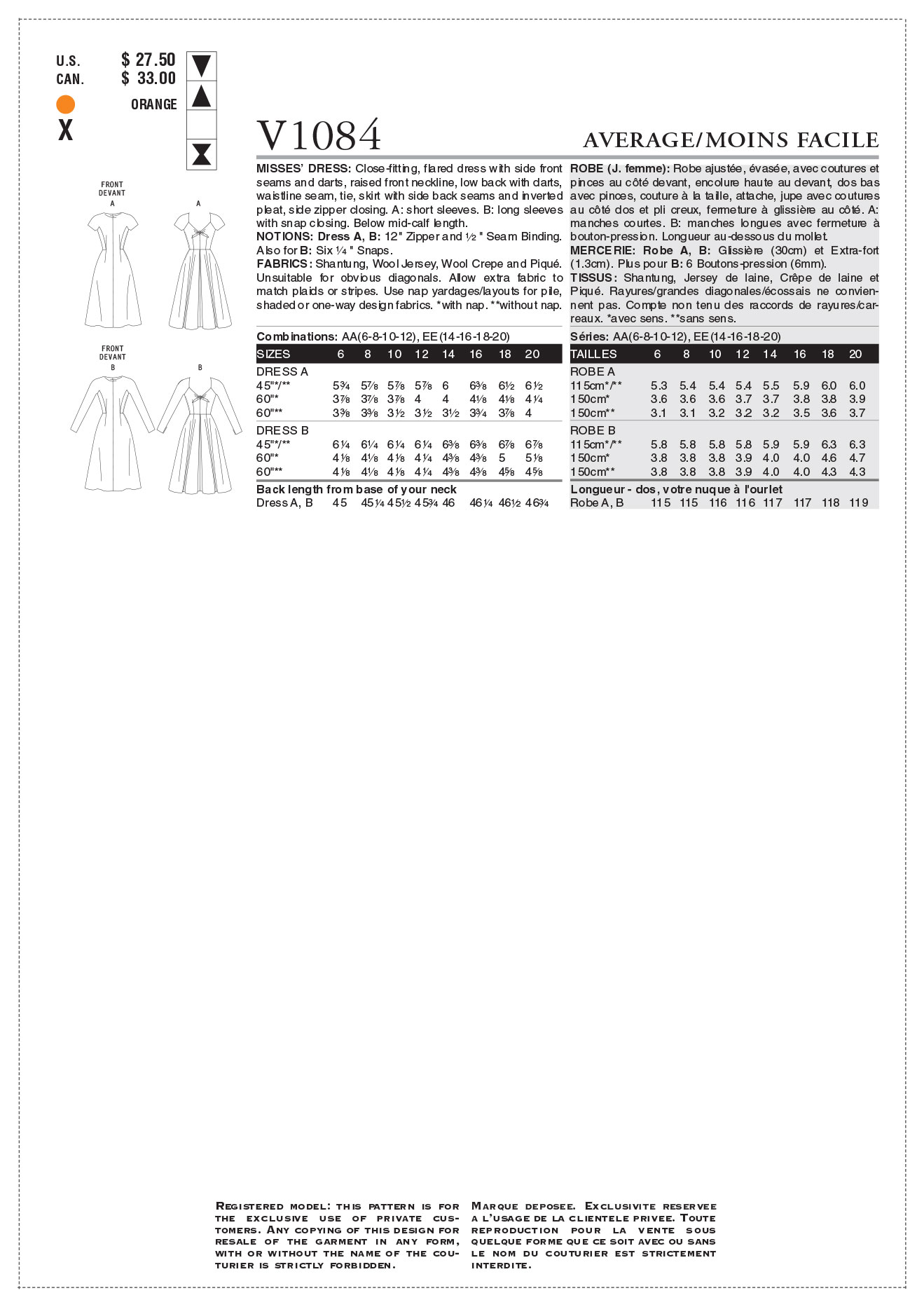 Vogue Patterns Misses Dress-V1084