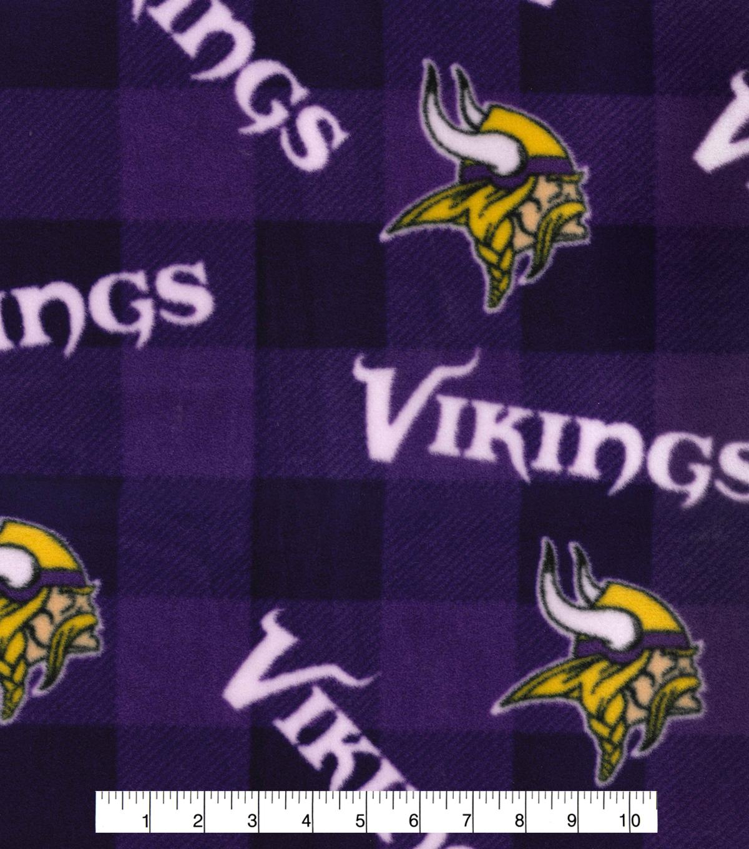 Minnesota Vikings Fleece Fabric Buffalo Plaid