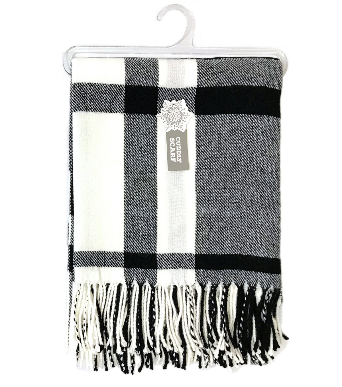 a402cc3f25b8b Christmas Cuddly Blanket Scarf-Black & White Plaid | JOANN