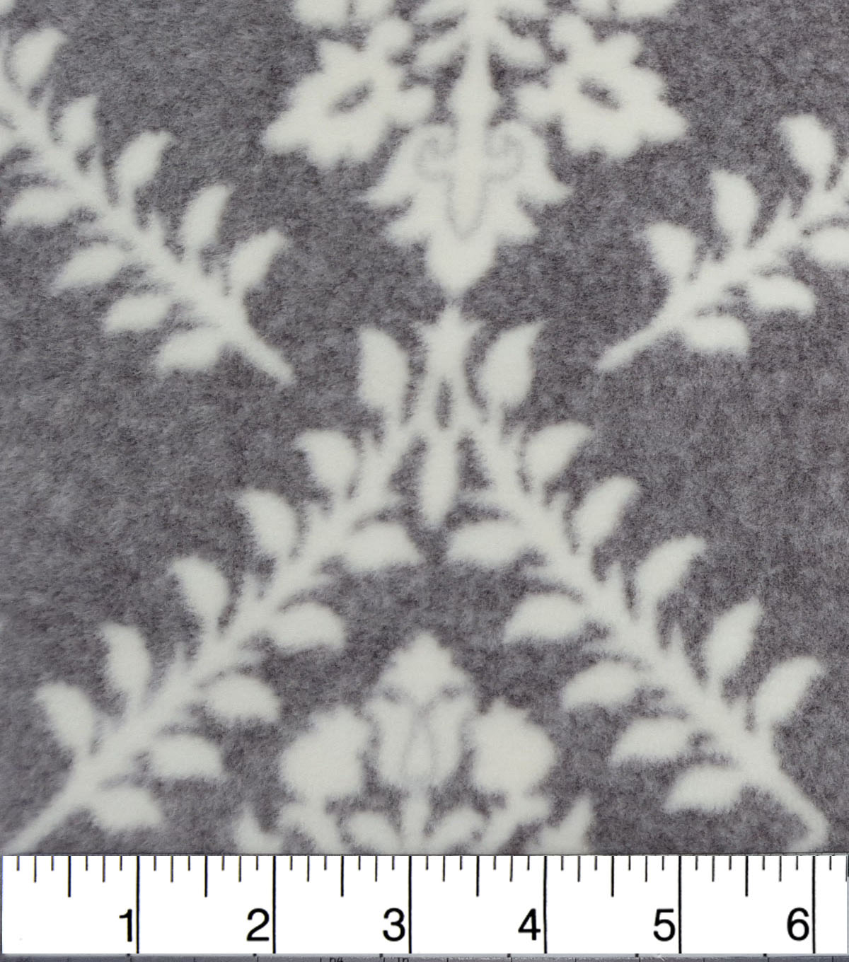 Luxe Fleece Fabric -Floral on Heathered Gray