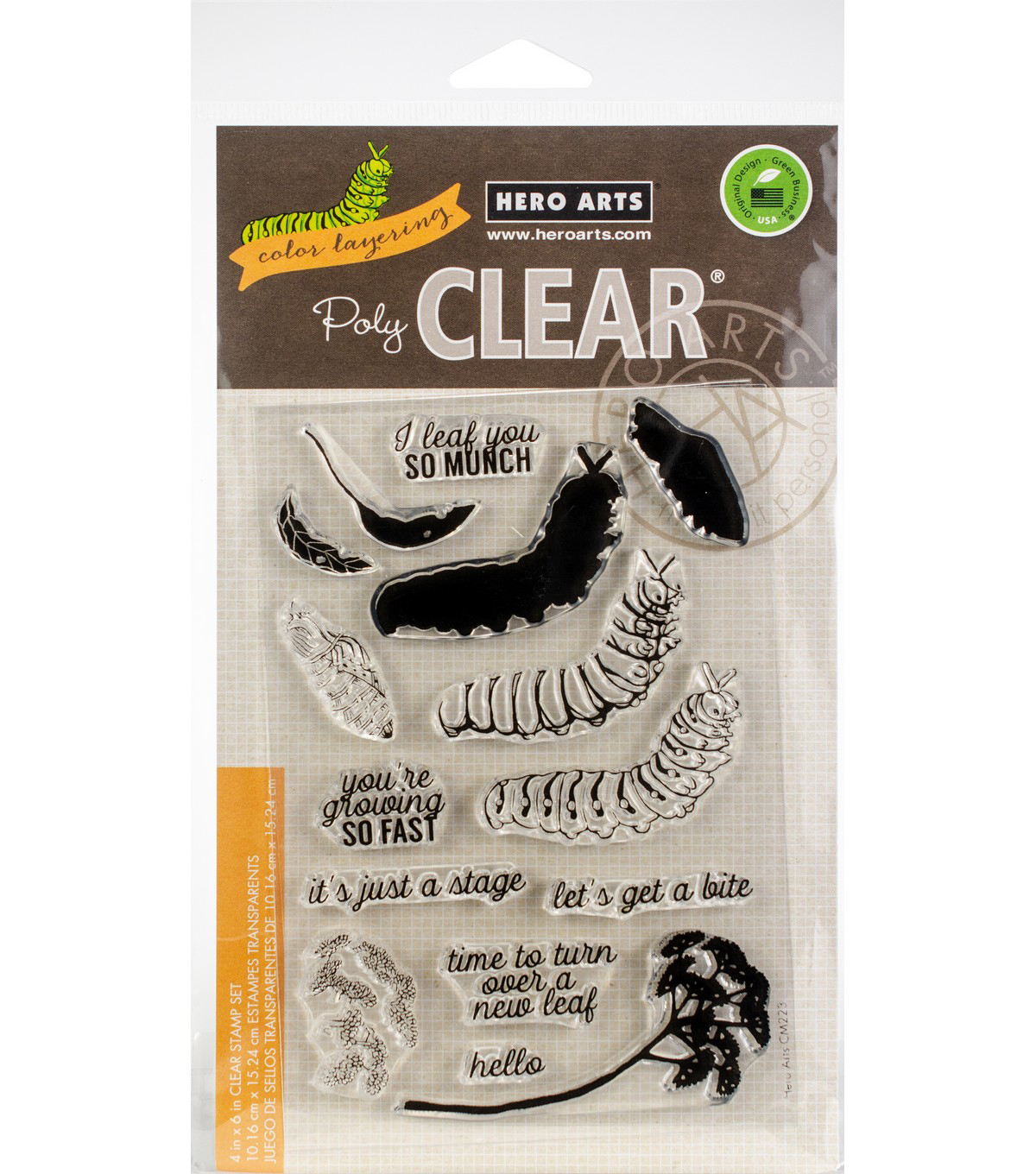 Hero Arts 15 pk Color Layering Clear Stamps-Caterpillar