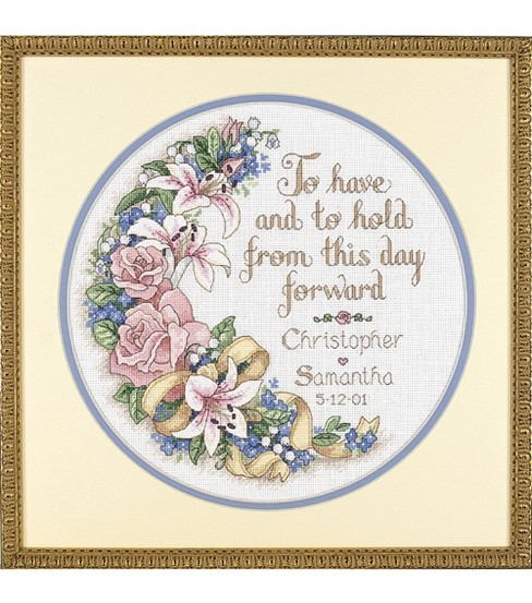 Vintage Sampler Anniversary Record Dimensions Needlecrafts Counted Cross Stitch Kit