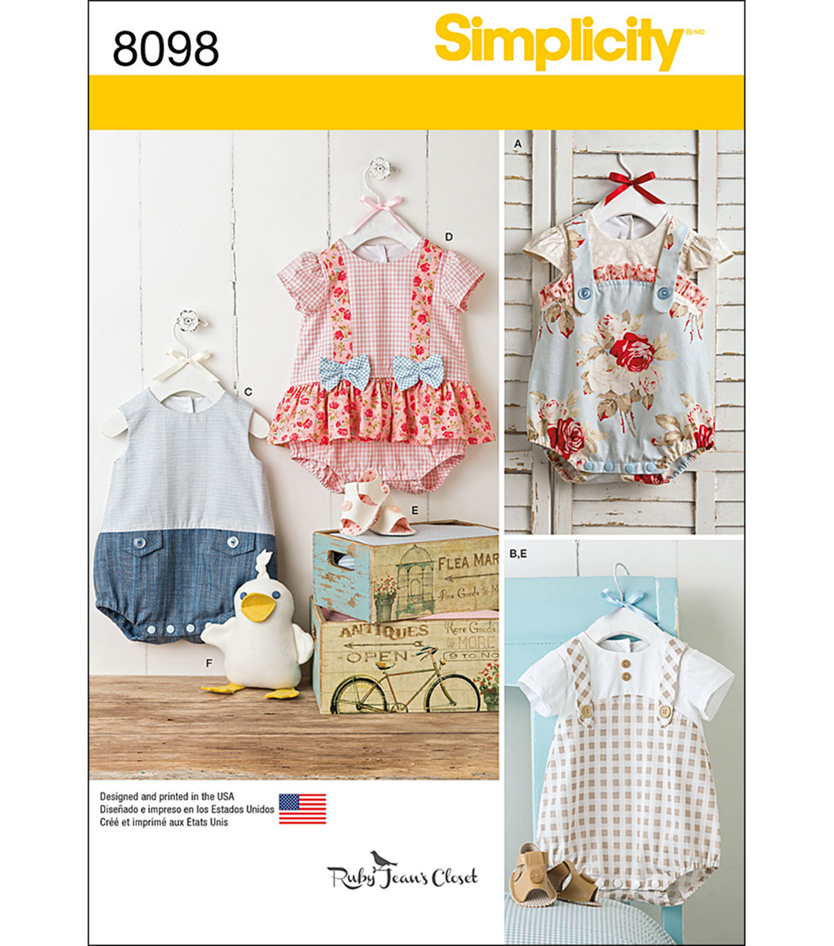 Simplicity Patterns 8098A Infants\u0027 Rompers & Sandals-Size XXS-L