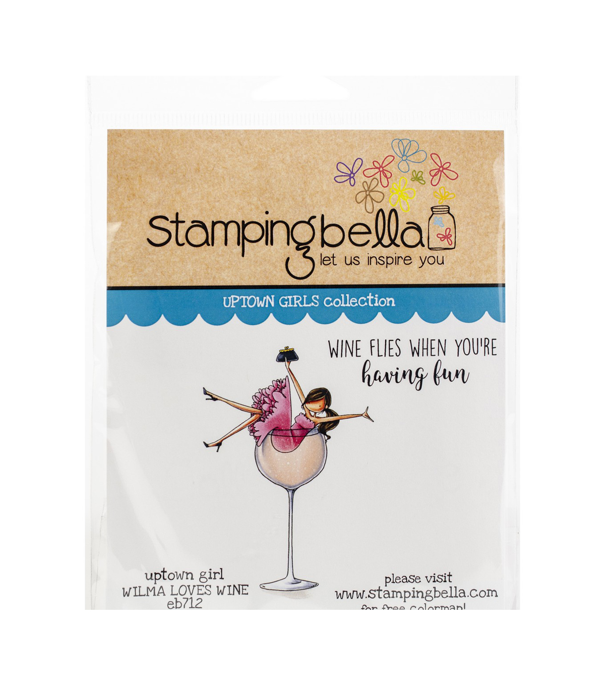 Stamping Bella 2 pk Rubber Cling Stamps-Uptown Girl Wilma Loves Wine