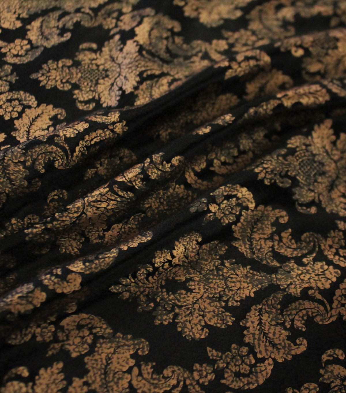 The Witching Hour Halloween Foil Brocade Panne Fabric 58\u0022-Black/Gold