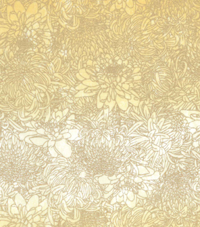 Asian Inspired Cotton Fabric 43\u0027\u0027-Metallic Floral on Tonal Yellow