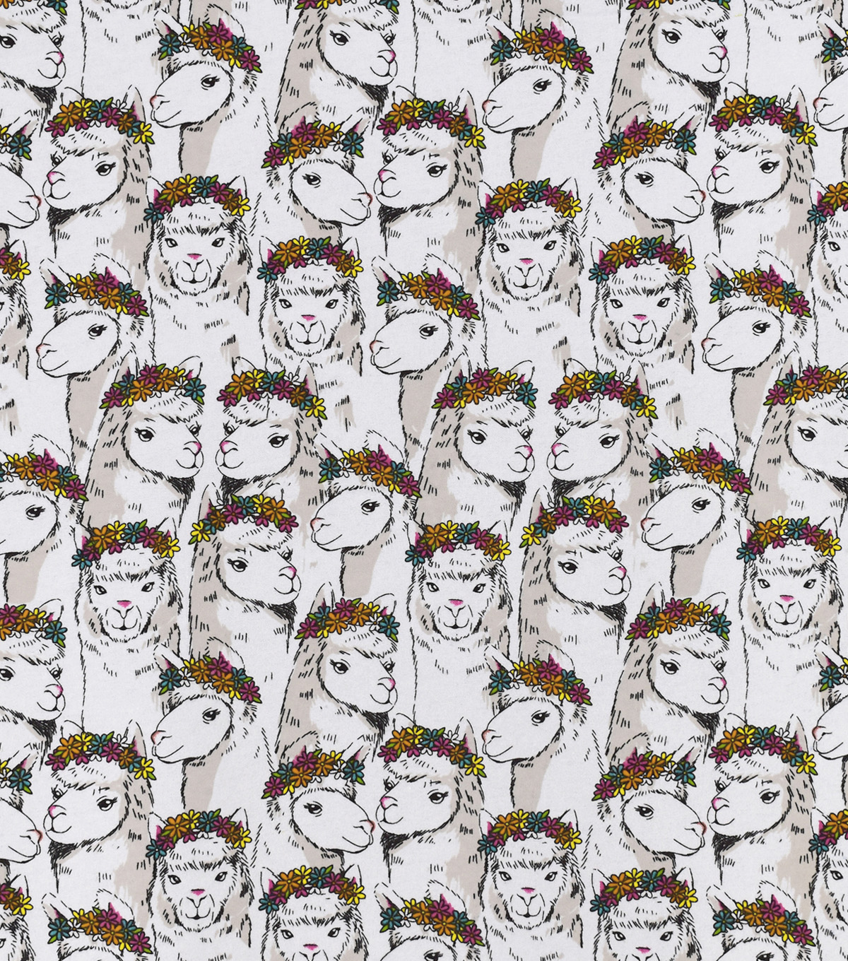 Snuggle Flannel Fabric-Llamas with Floral Crowns