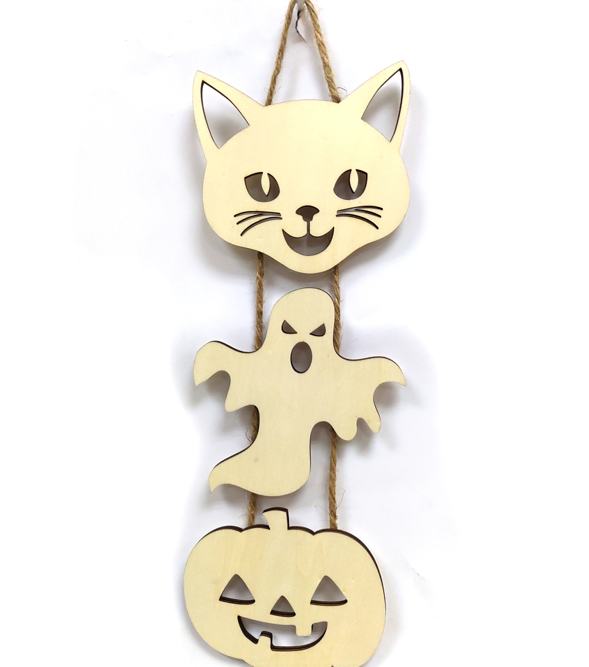 Maker\u0027s Halloween Craft Wooden Pumpkin, Ghost & Cat Hanging Sign