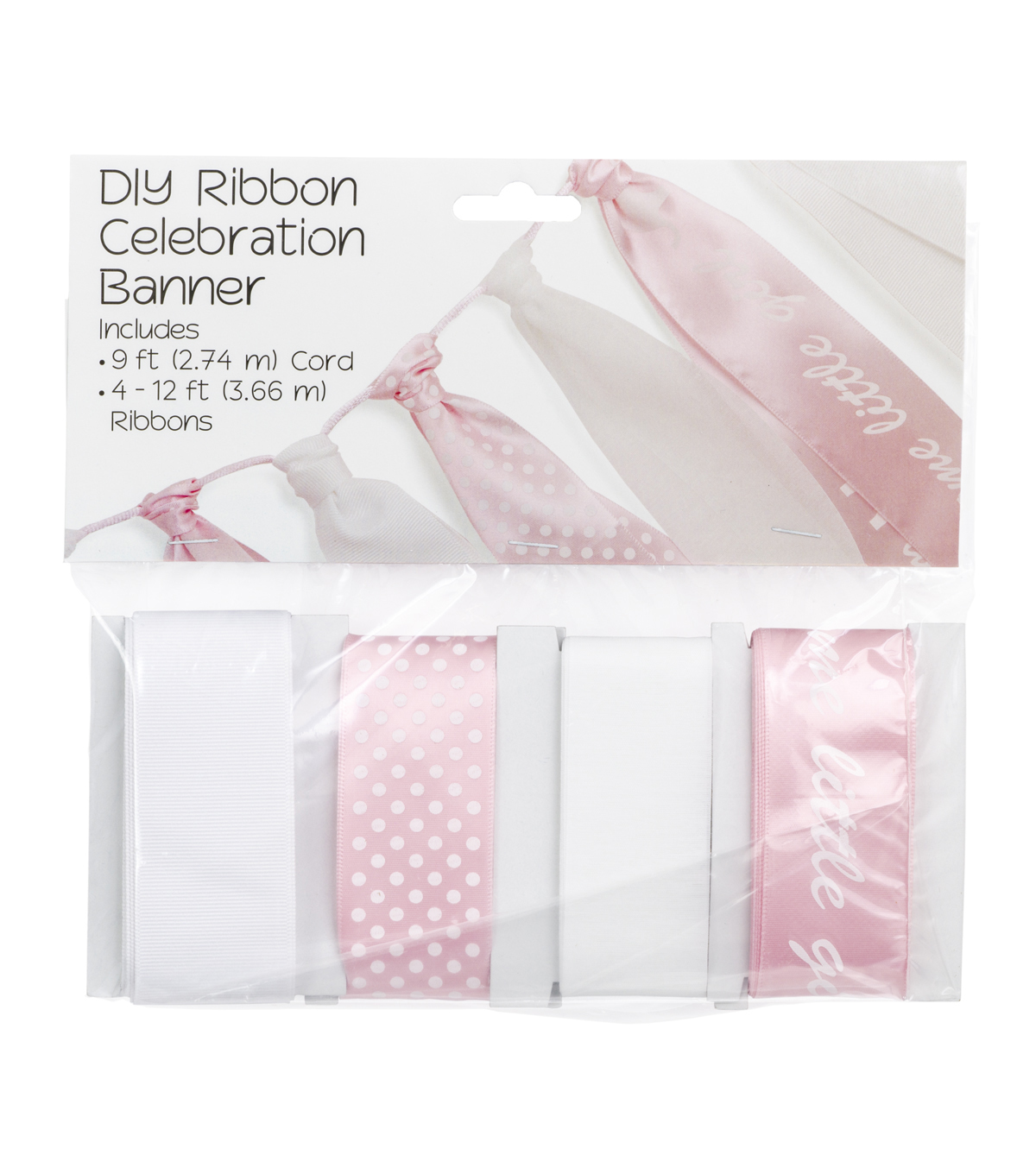 Offray DIY Ribbon Celebration Banner Kit-Baby Girl Shower