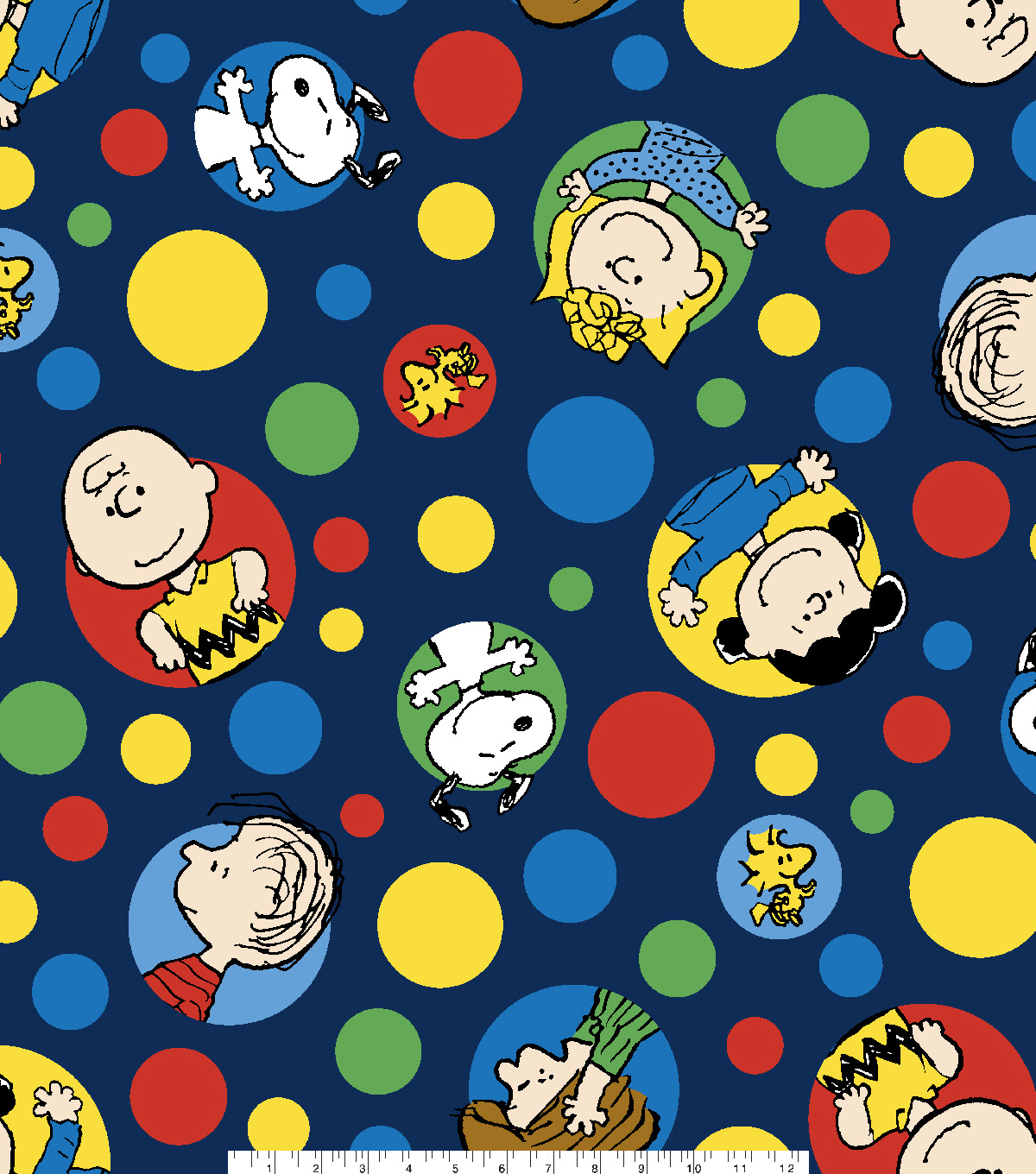 Peanuts Fleece Fabric 59\u0022-Dots