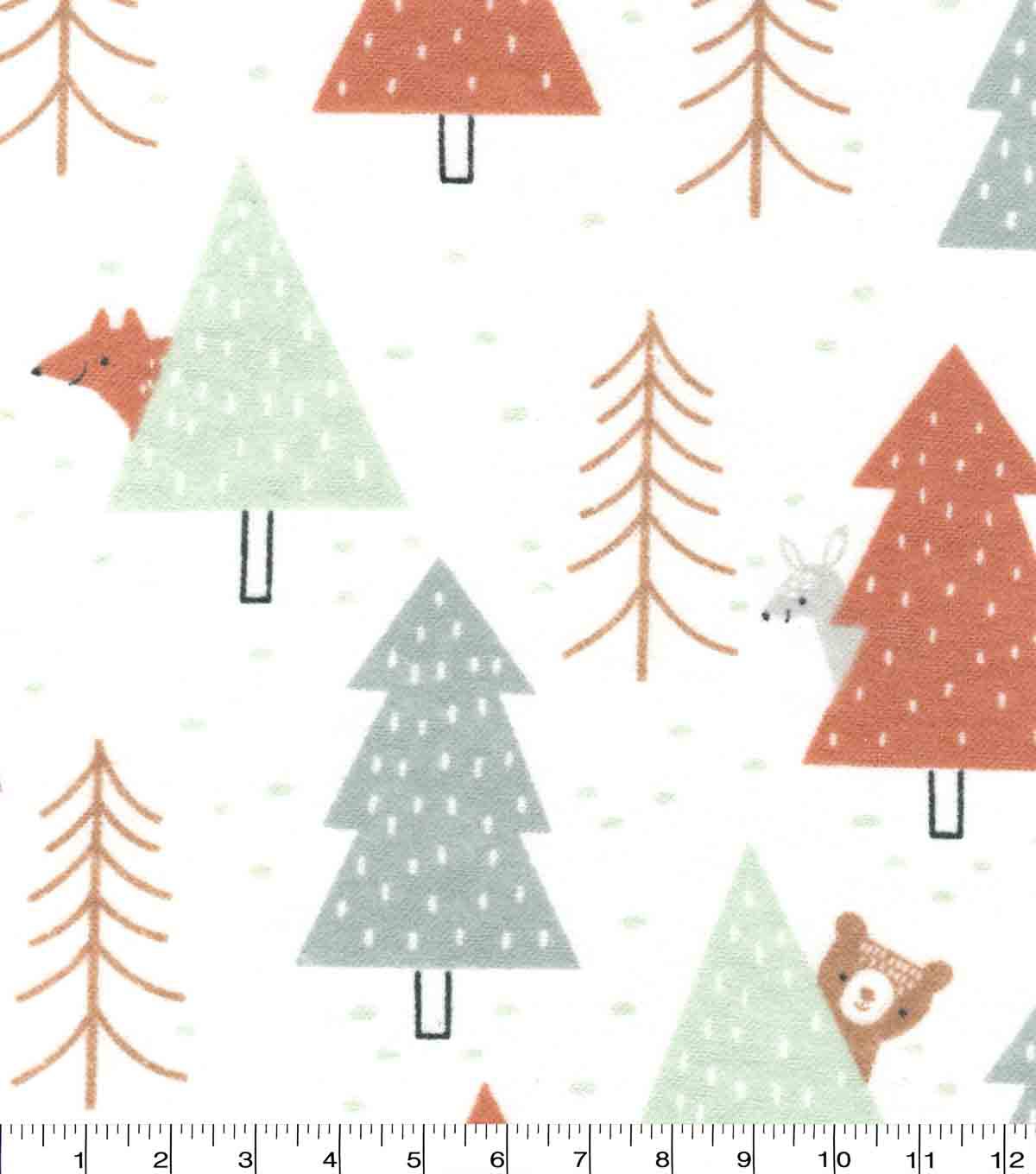Nursery Flannel Fabric-Woodland Peaking Animals
